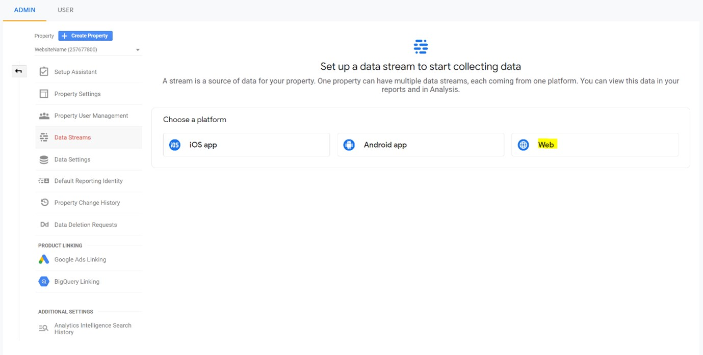Google analytics data streams